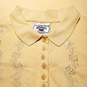 3/30$ 🍂 Vintage Nevada Light Yellow Embroidered Short Sleeves Polo Shirt